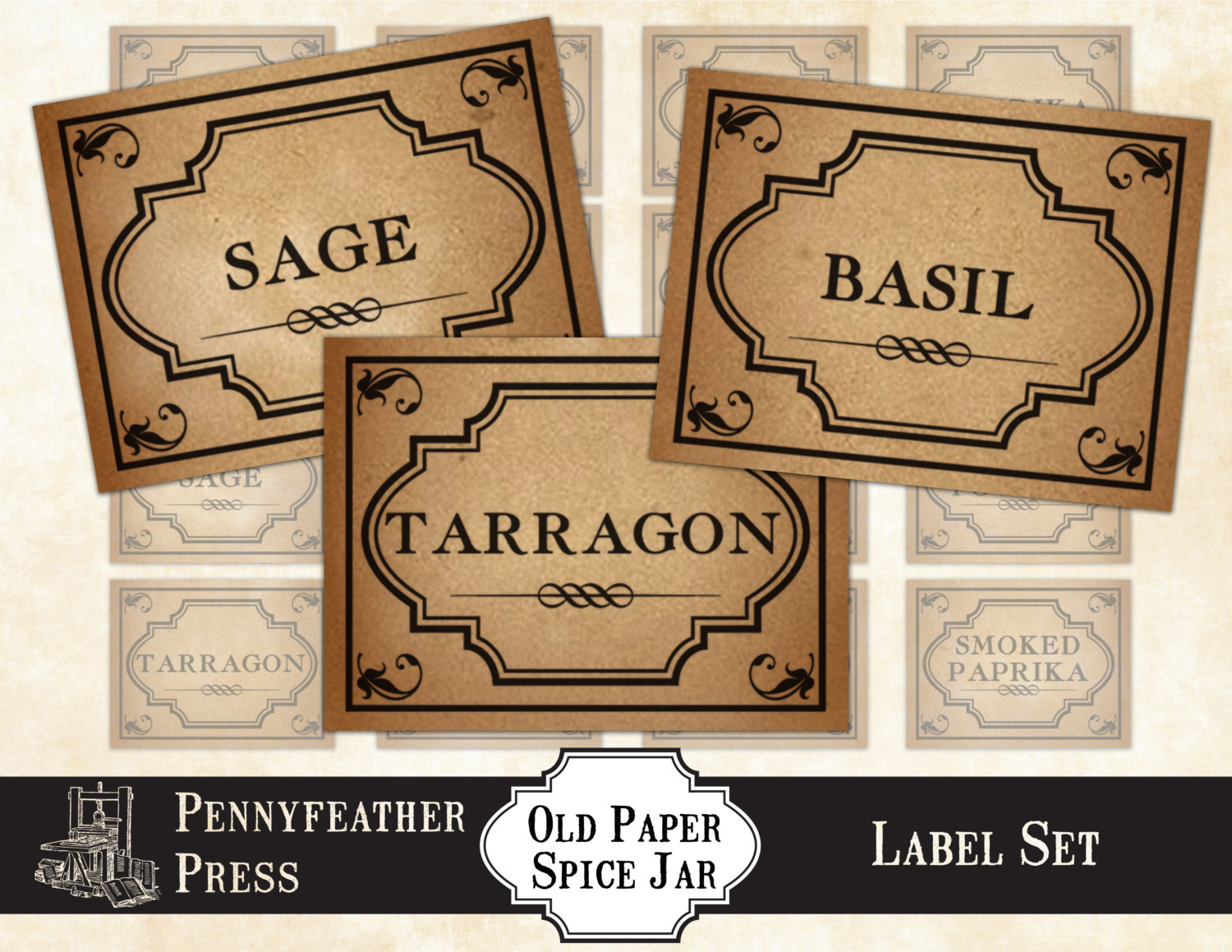 Herbs And Spices clipart spice rack Printable Art clip Shabby Antique