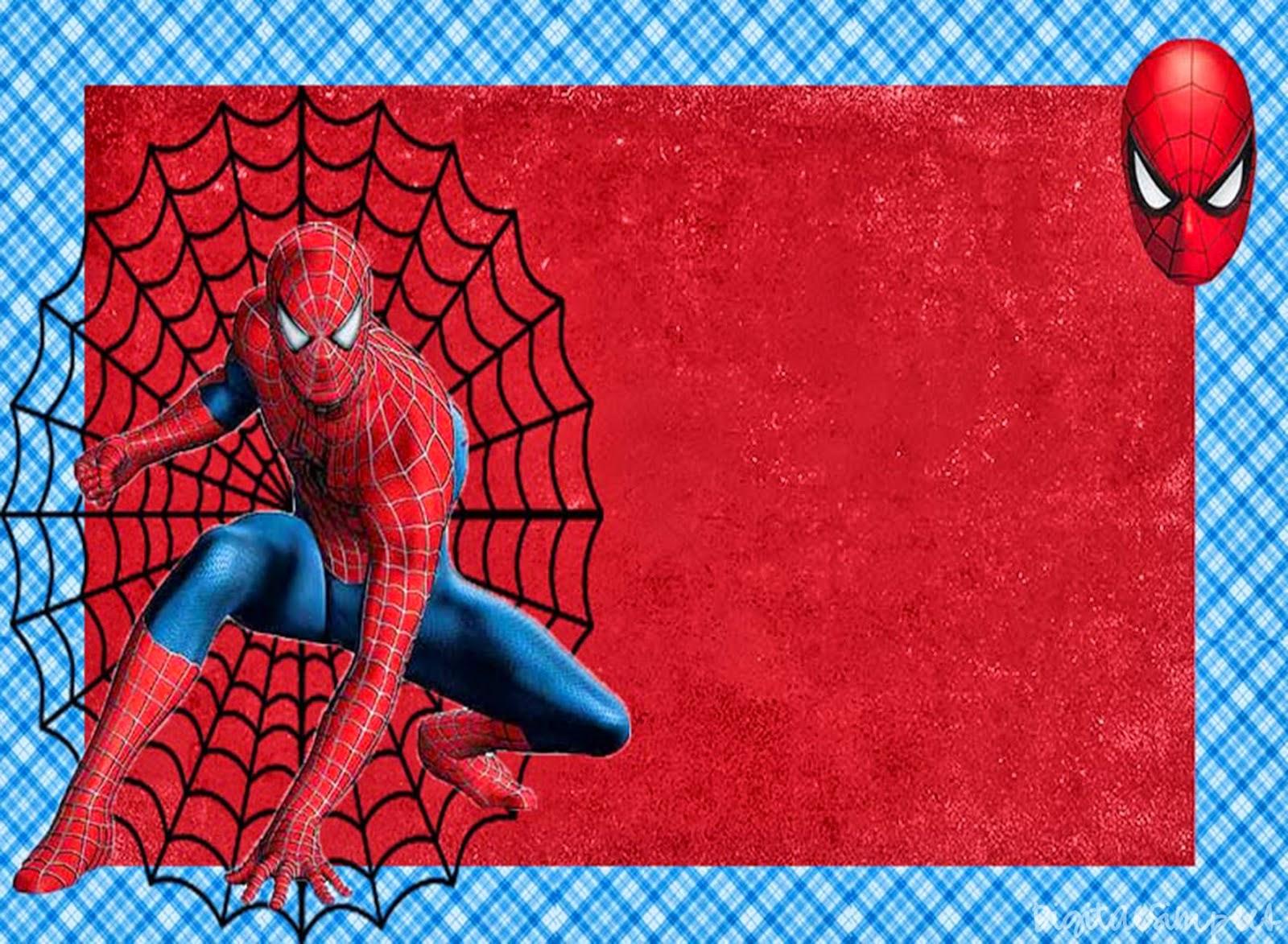 Spiderman clipart birthday invitation card Oh Free Printable or Printable