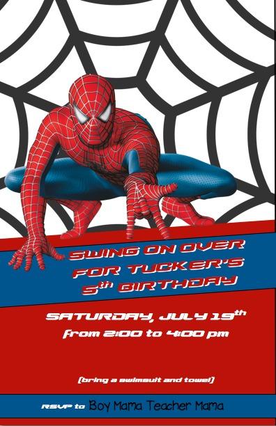 Spiderman clipart birthday invitation card Mama Mama: Teacher Invitaton Spiderman