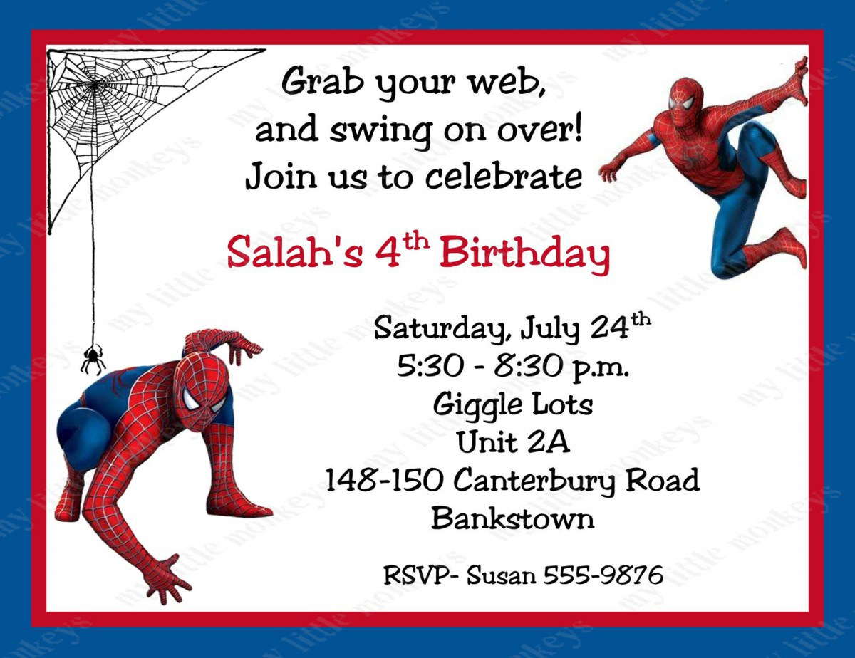 Spiderman clipart birthday invitation card Free Invitation Invitations Printable Cards