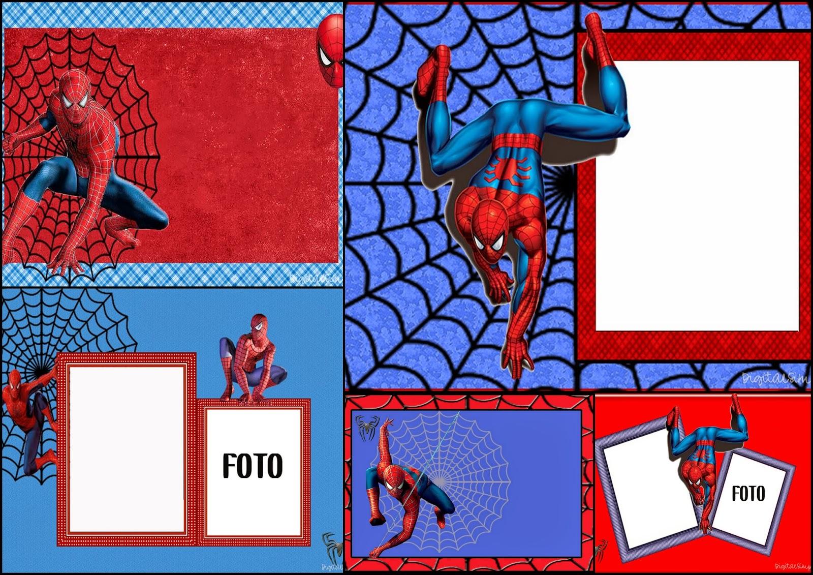 Spiderman clipart birthday invitation card Frames Spiderman: Marcos para Free