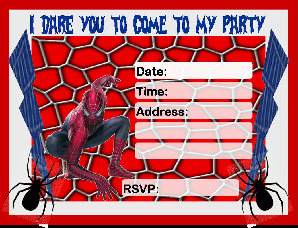 Spiderman clipart birthday invitation card Personalized Free Spiderman Free Birthday