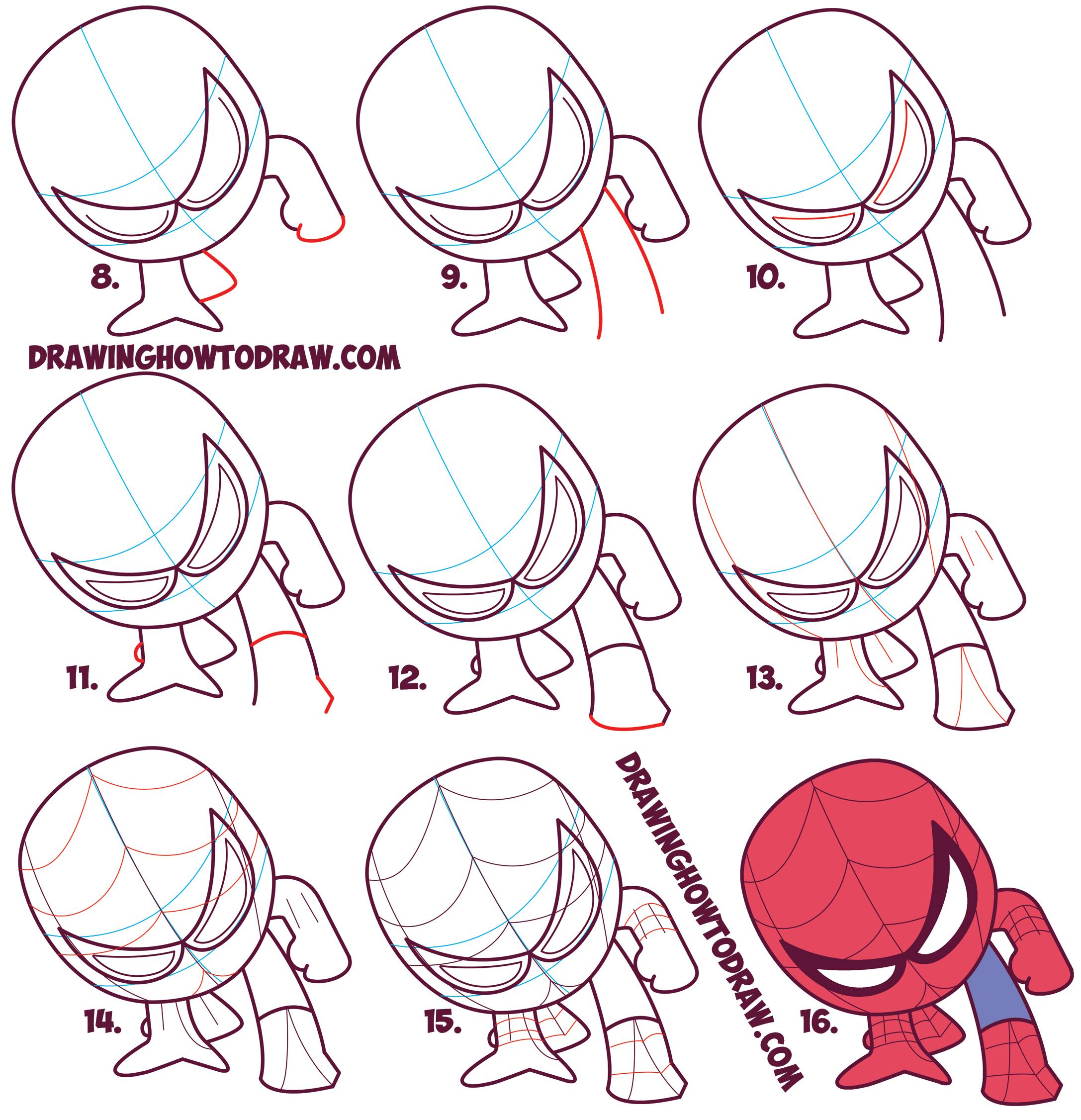 Drawn spiderman step by step (Chibi Spiderman Step Steps Easy