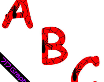 Spiderman clipart letter Letters Clipart Spiderman Etsy Spiderman