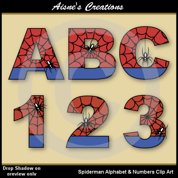 Spiderman clipart letter Spiderman Numbers  & Letters