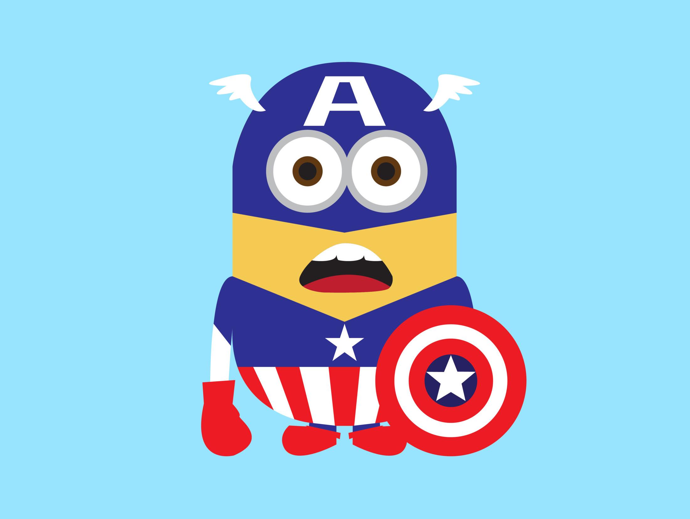 Spiderman clipart minion Minion Captain Wallpicshd America HD
