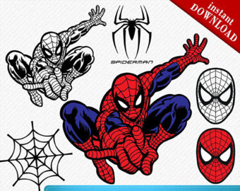 Spiderman clipart silhouette Cut silhouettes Cutters Vector Etsy