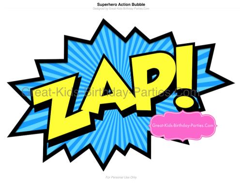 Word clipart spiderman Printables Superhero Word Zap Bubble