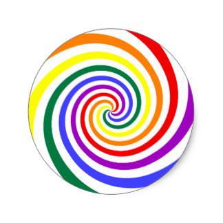 Spiral clipart rainbow swirl Sticker Zazzle on Round Swirl