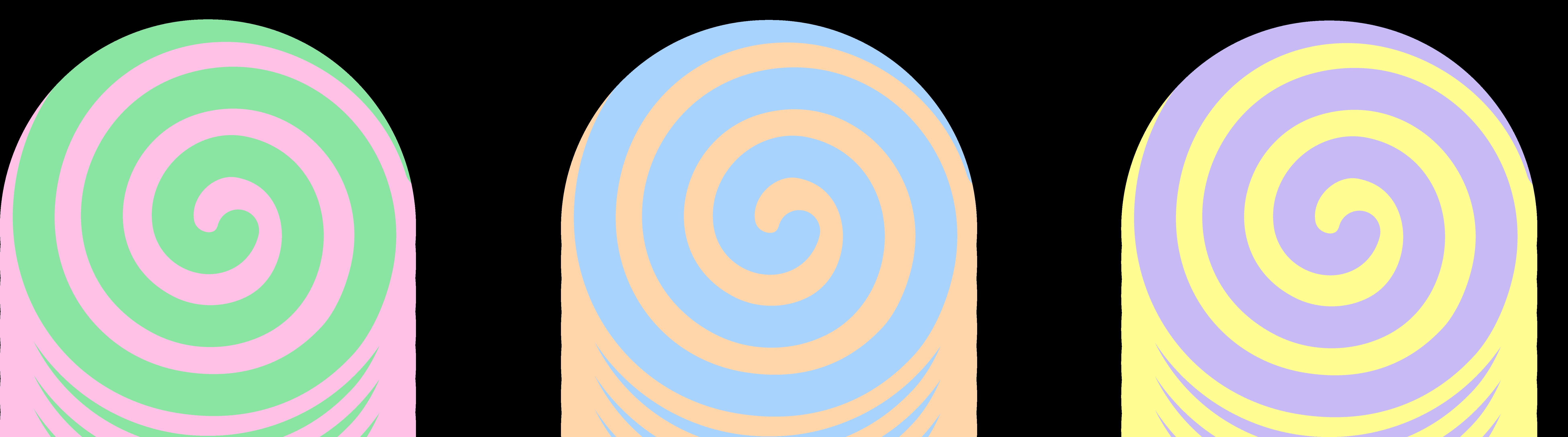 Spiral clipart swirl candy Art Pastel Three Spiral Candies