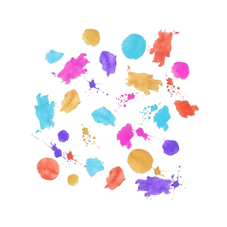 Water Color clipart paint set Watercolor art Set Digital splatter