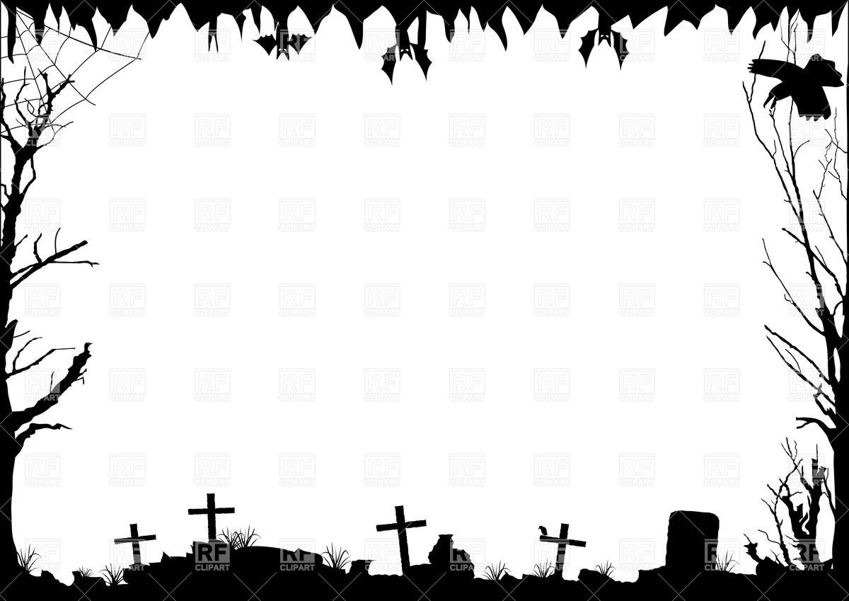 Cemetery clipart border Ghost clipart collection Black clip