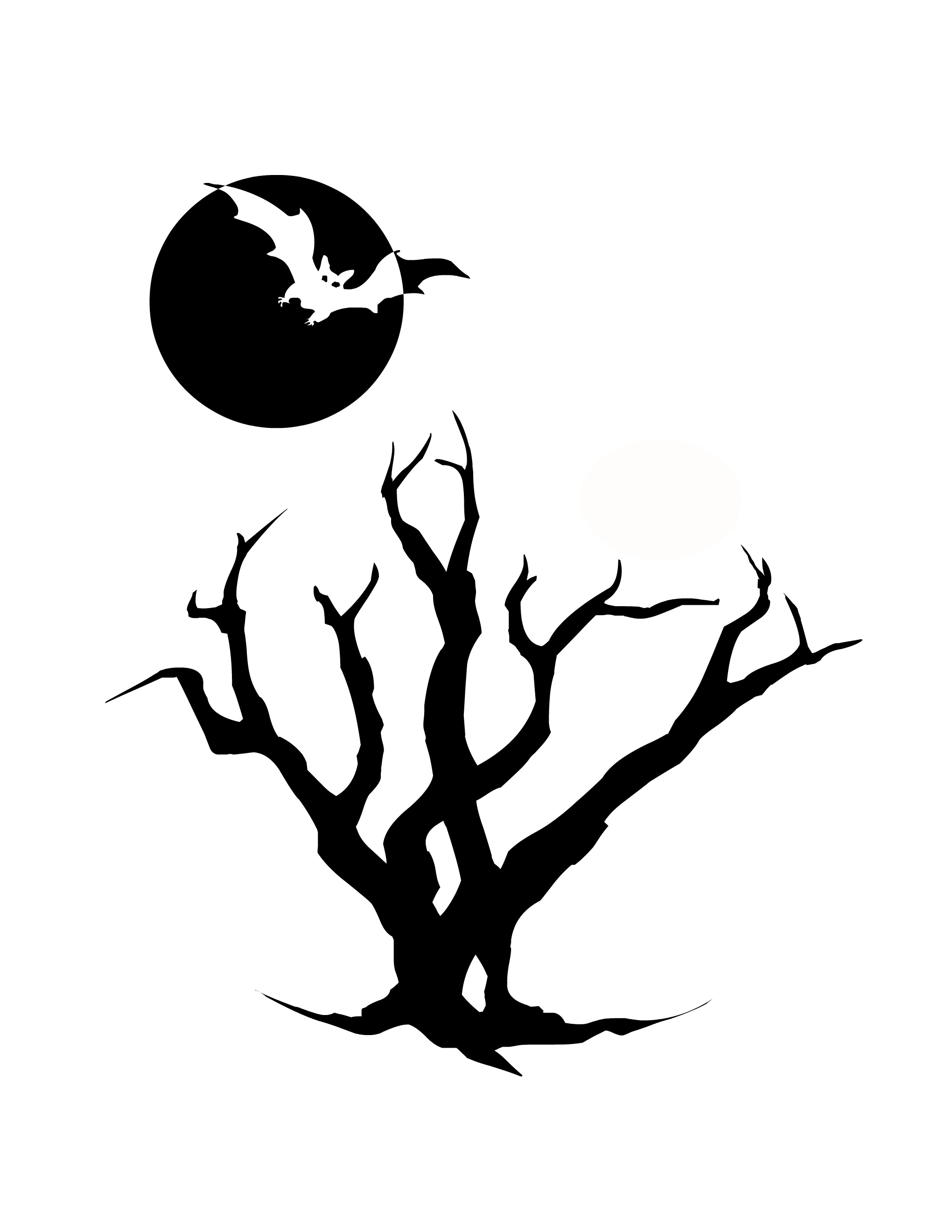 Spooky clipart branch Tree outline Clip tree Free