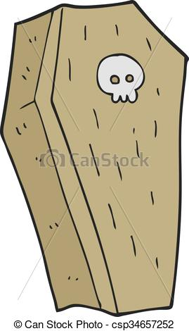 Coffin clipart spooky Freehand cartoon  drawn Vector