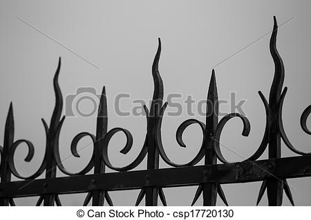 Spooky clipart fence  black Stock and fence