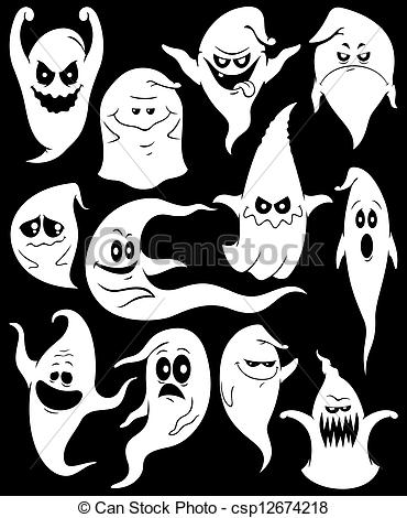 Spooky clipart ghost face Csp12674218 ghosts Ghosts spooky Set