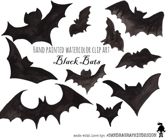 Spooky clipart hand  painted with Etsy: bats