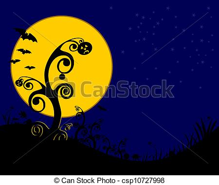 Spooky clipart moon Of Clip trees spooky woodcut