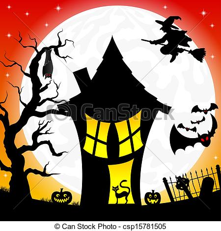 Spooky clipart witch house Witch moon Clipart a Vector