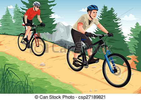 Bike clipart mountain biking A riding  mountain Vector