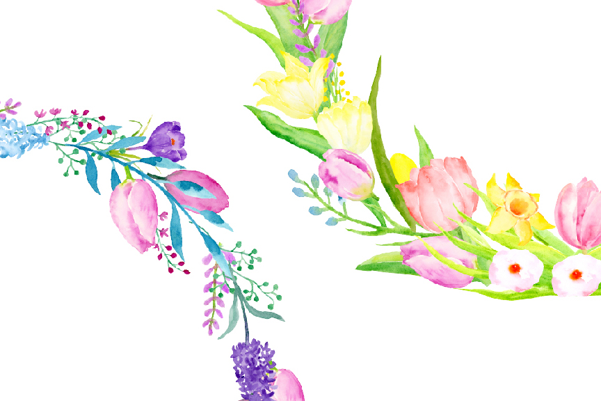 Wreath clipart happy easter Watercolor Spring TheHungryJPEG Flower