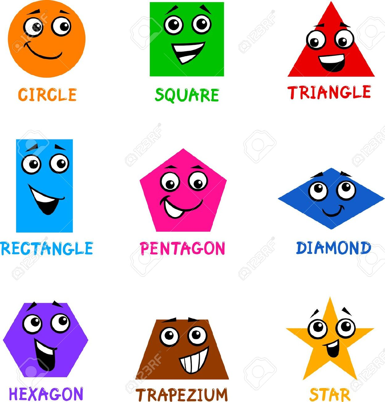 Square clipart cartoon Characters Clipart Characters Cartoon Shapes