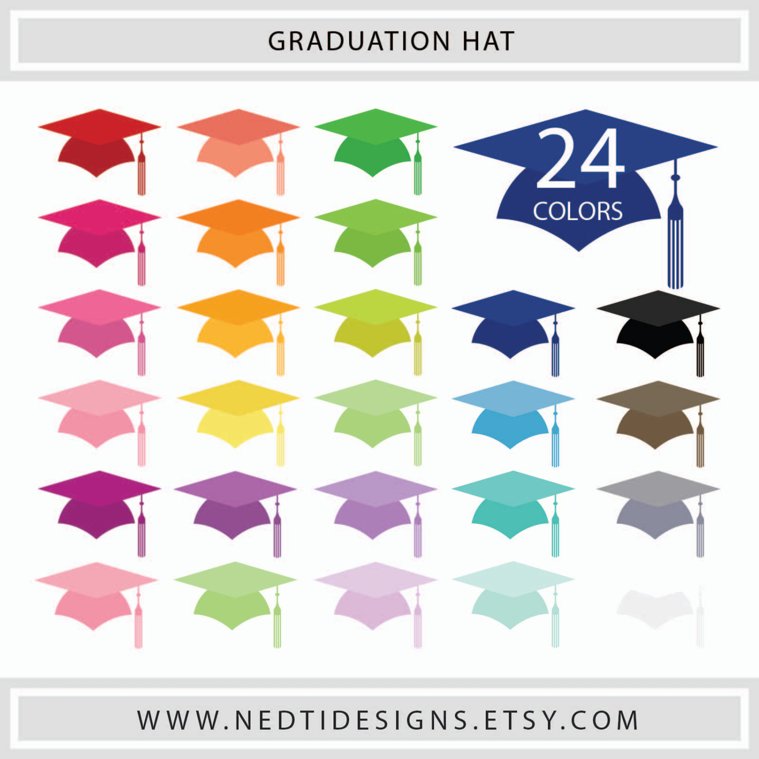 Square clipart colored Graduation Mortarboard/ this Cap Hat