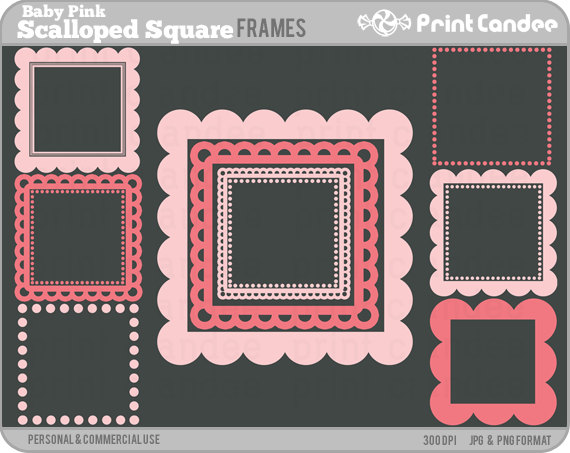 Square clipart cute (Baby Scalloped Square Personal Scalloped
