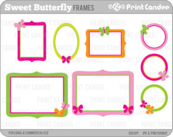 Square clipart cute Scrapbook clip Butterfly Commercial Sweet