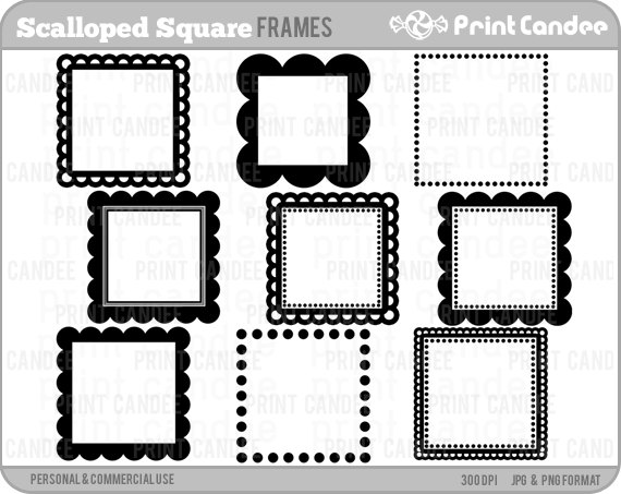 Square clipart cute Commercial Frames Square Commercial Scalloped