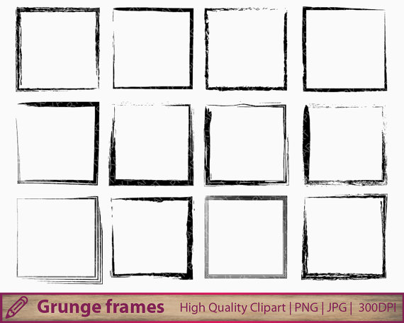Square clipart distressed Frame distressed scrapbooking clipart square