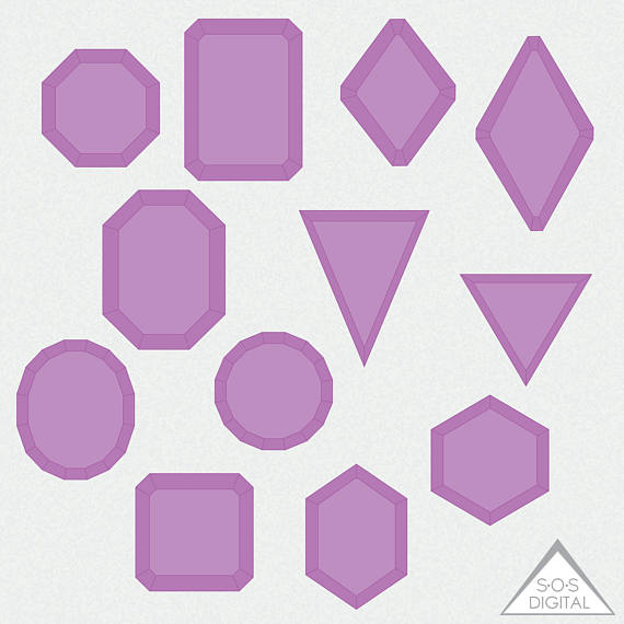 Square clipart gemstone Commercial Clipart  Amethyst art