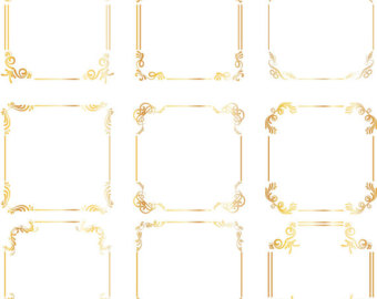 Square clipart gold frame Wedding calligraphy Borders Gold square