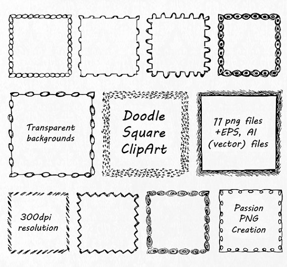Square clipart hand drawn This SET! Frames is