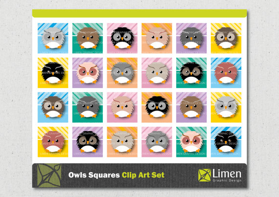 Square clipart owl Clip Printable from Inch Art