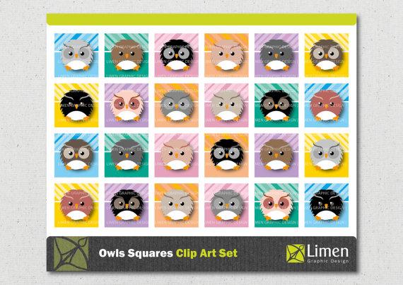 Square clipart owl Clip for Printable Art limen