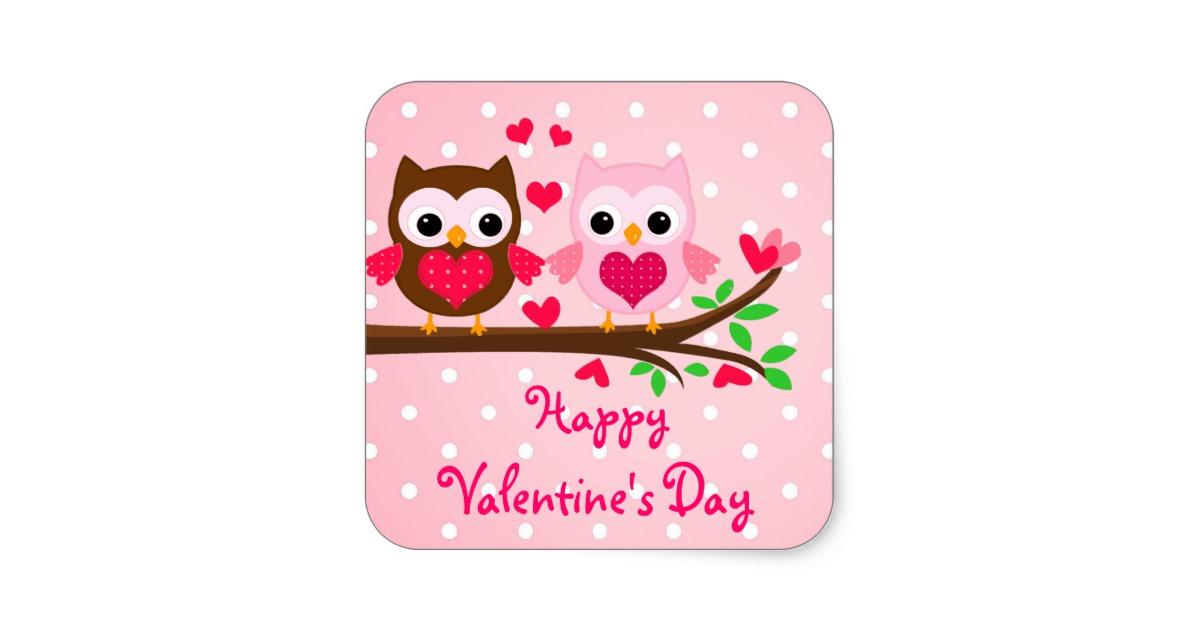 Square clipart owl I Valentine's Owl Couple Sticker