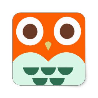 Square clipart owl Owl Sticker Square Background Orange