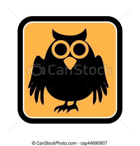 Square clipart owl Owl halloween frame square Vector