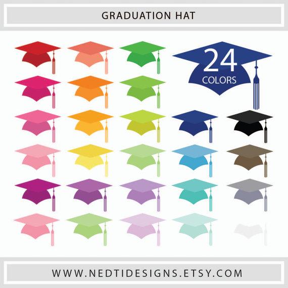 Graduation clipart colorful Set Mortarboard/ digital Color Hat
