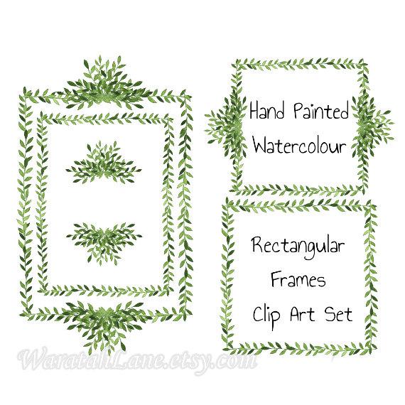 Square clipart watercolor Digital Clip frames watercolor laurel