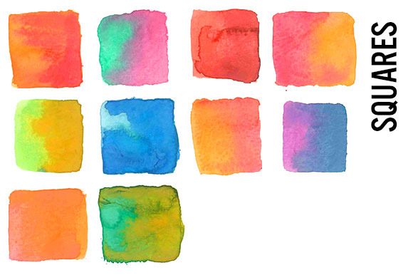 Square clipart watercolor Market by Watercolor on Watercolor