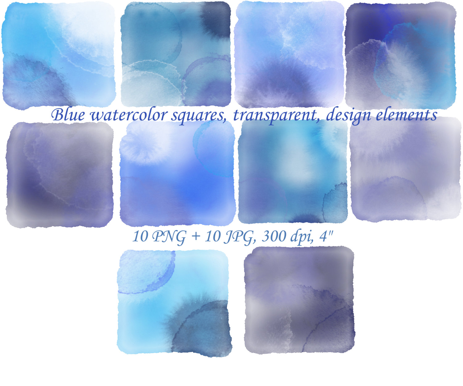 Squares clipart blue color Squares  watercolor clipart digital