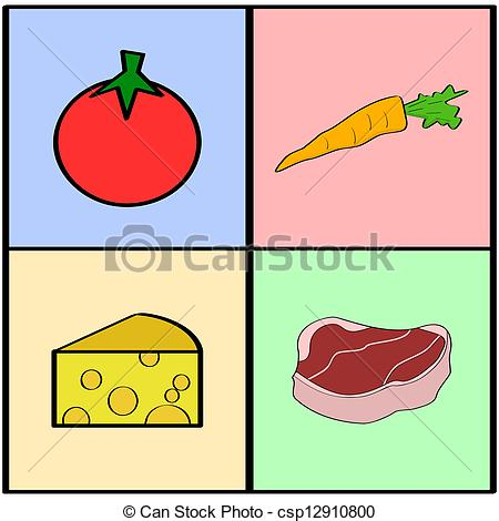 Squares clipart cartoon Squares Groceries showing of illustration