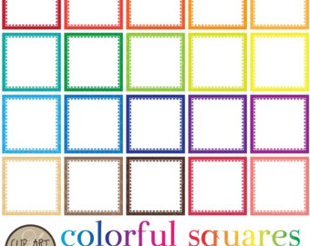 Squares clipart colored Christmas DIgital Squares with Linings