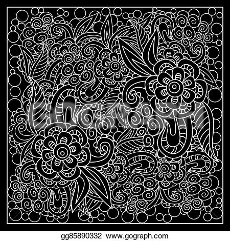 Handkerchief clipart Abstract print bandana fantasy silk