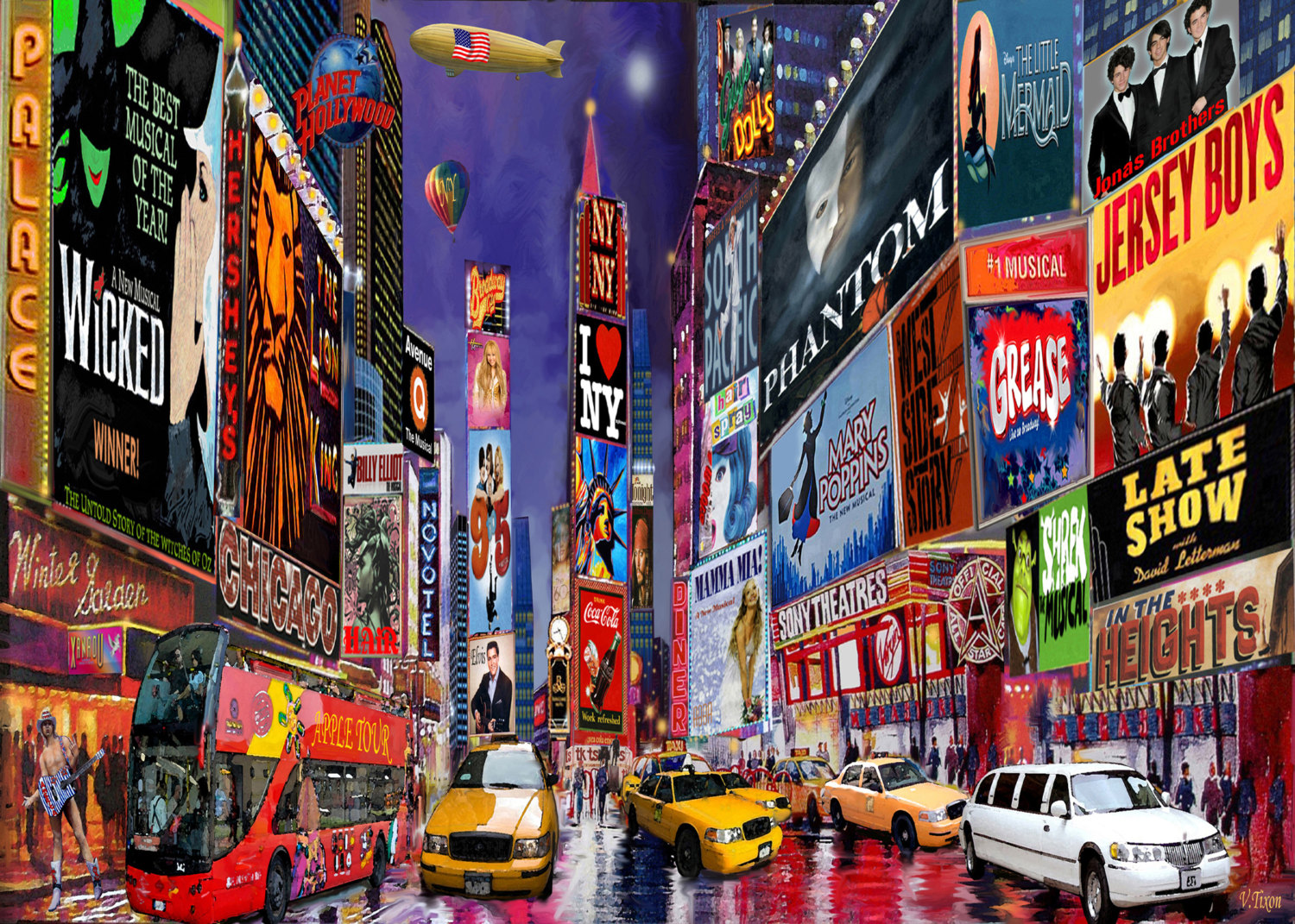 Times Square clipart Print York City Paintings Square