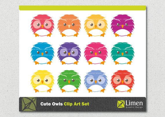 Squares clipart owl Owl Etsy Owl Digital Cute