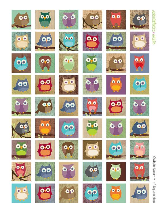 Squares clipart owl Tiles Century Art Buttons OWLS
