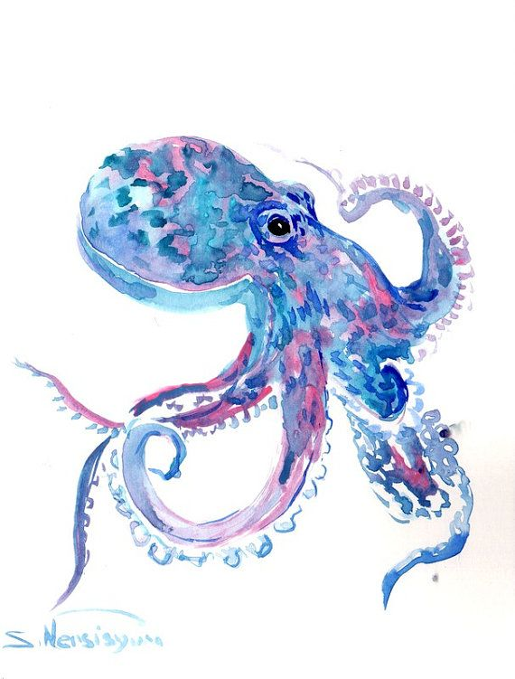 Drawn sea life octopus Pink Octopus best Original sea